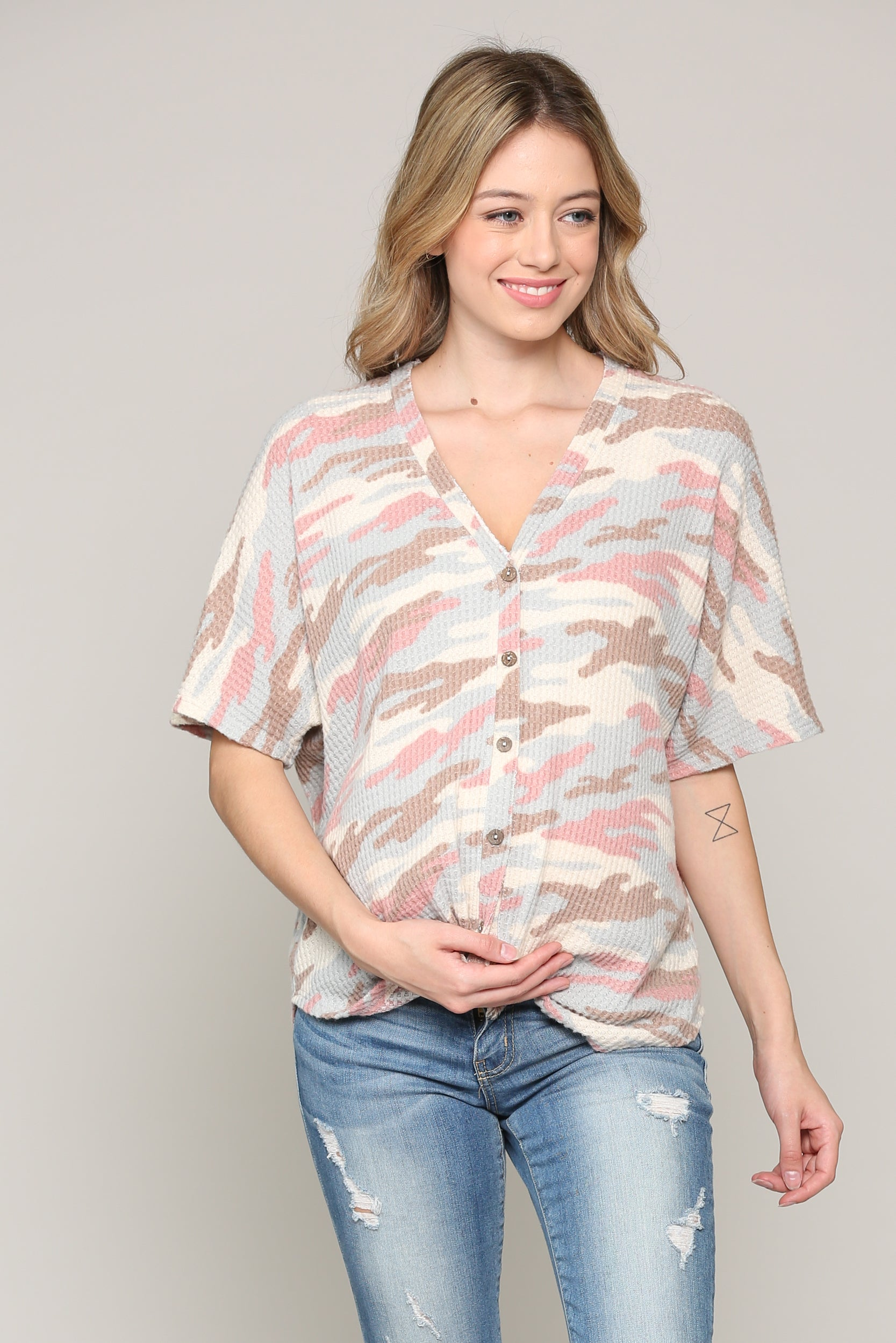 FLORAL RAGLAN FRONT BUTTON MATERNITY/NURSING TUNIC