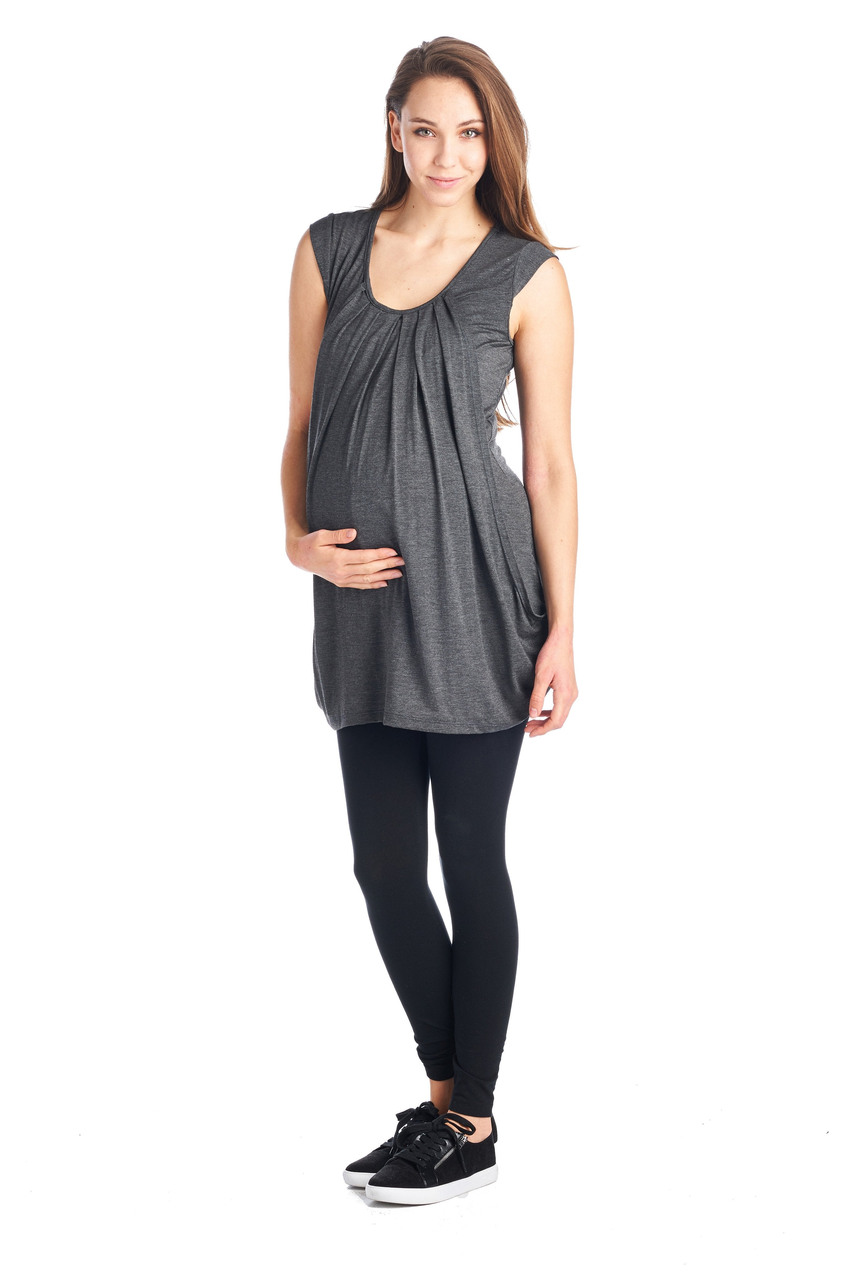 Draped Scoop Neck Maternity & Nursing Top