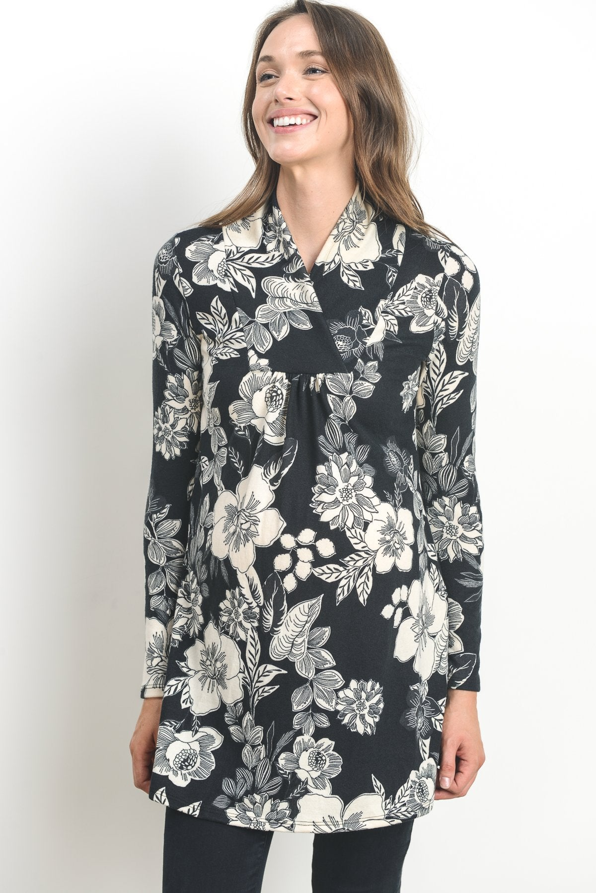 Floral Shawl Collar Maternity Sweater Tunic