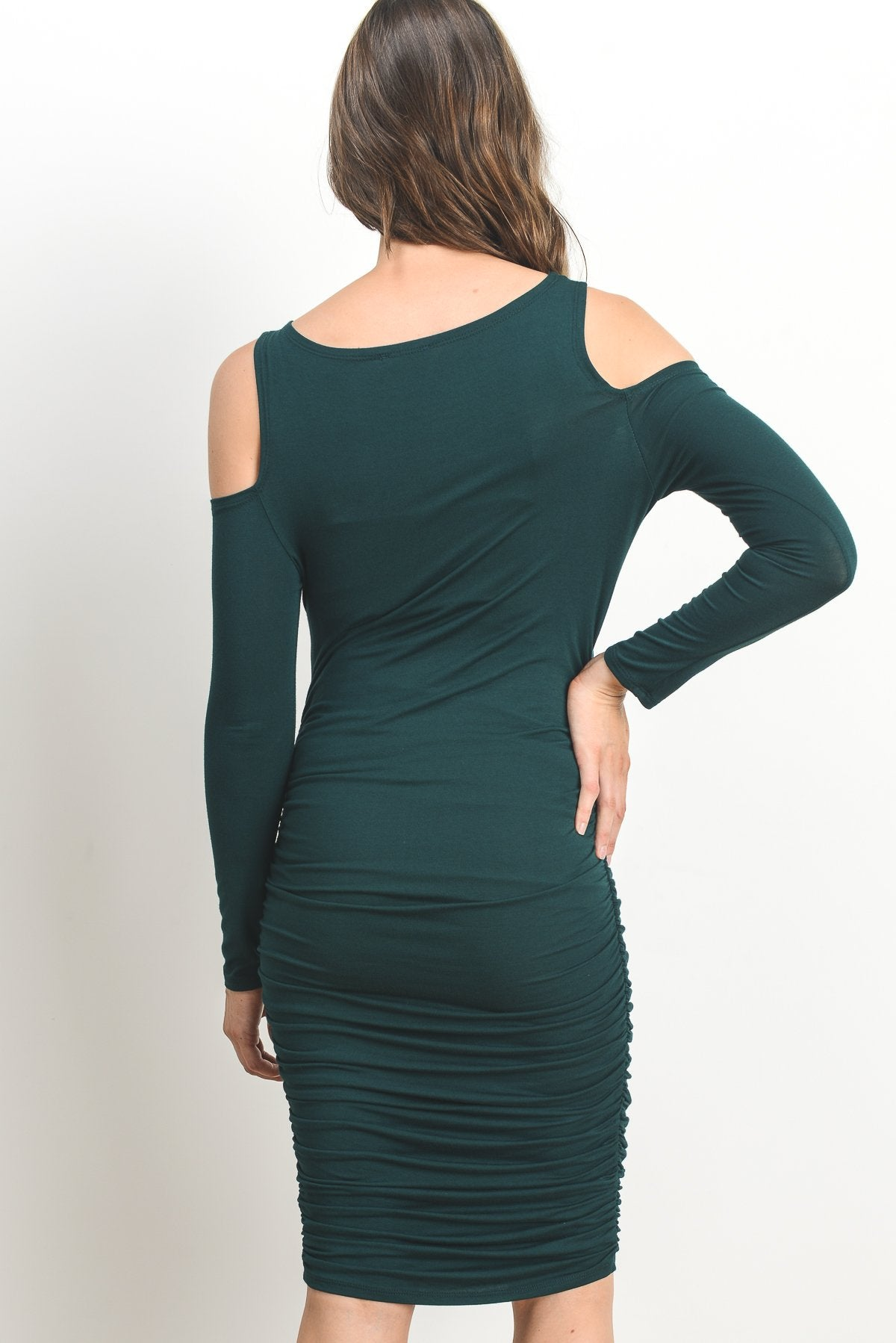Solid Cold Shoulder Bodycon Maternity Dress