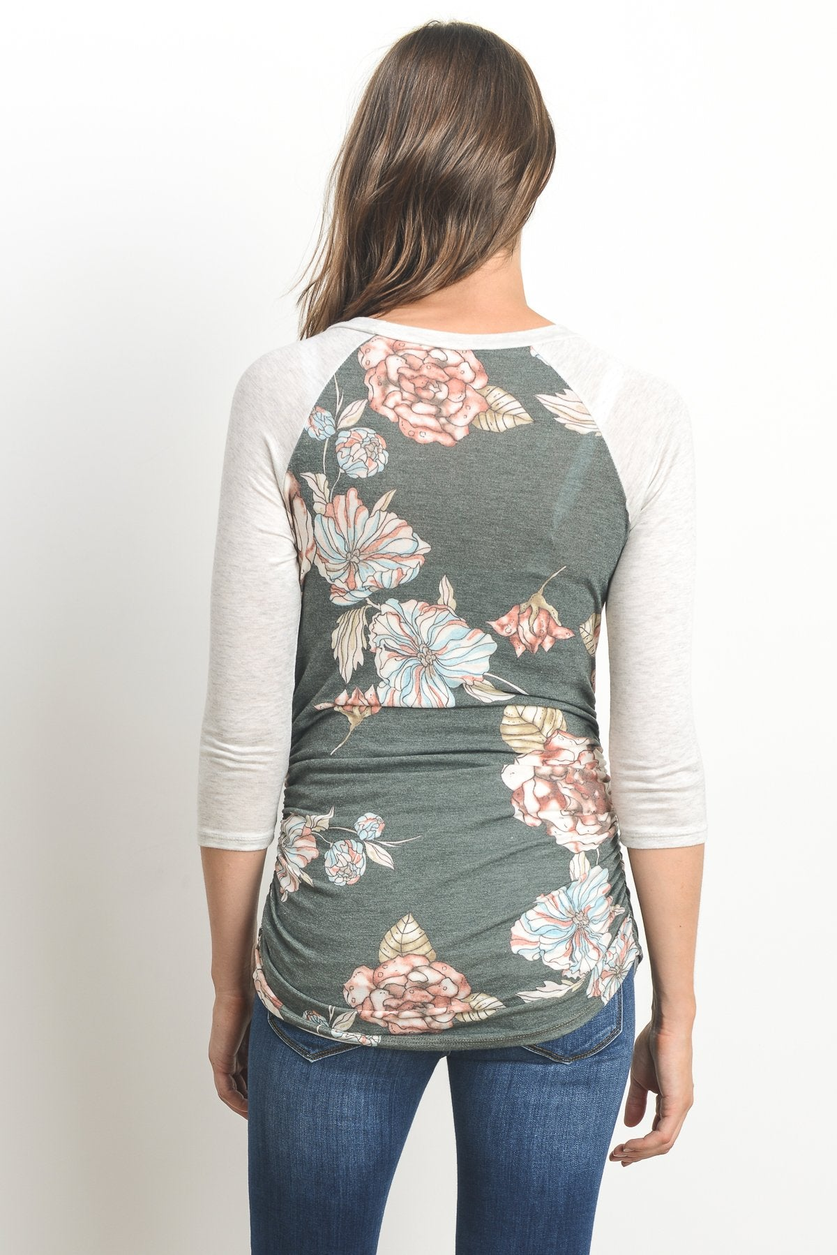Floral Raglan Maternity Tee, Graphic