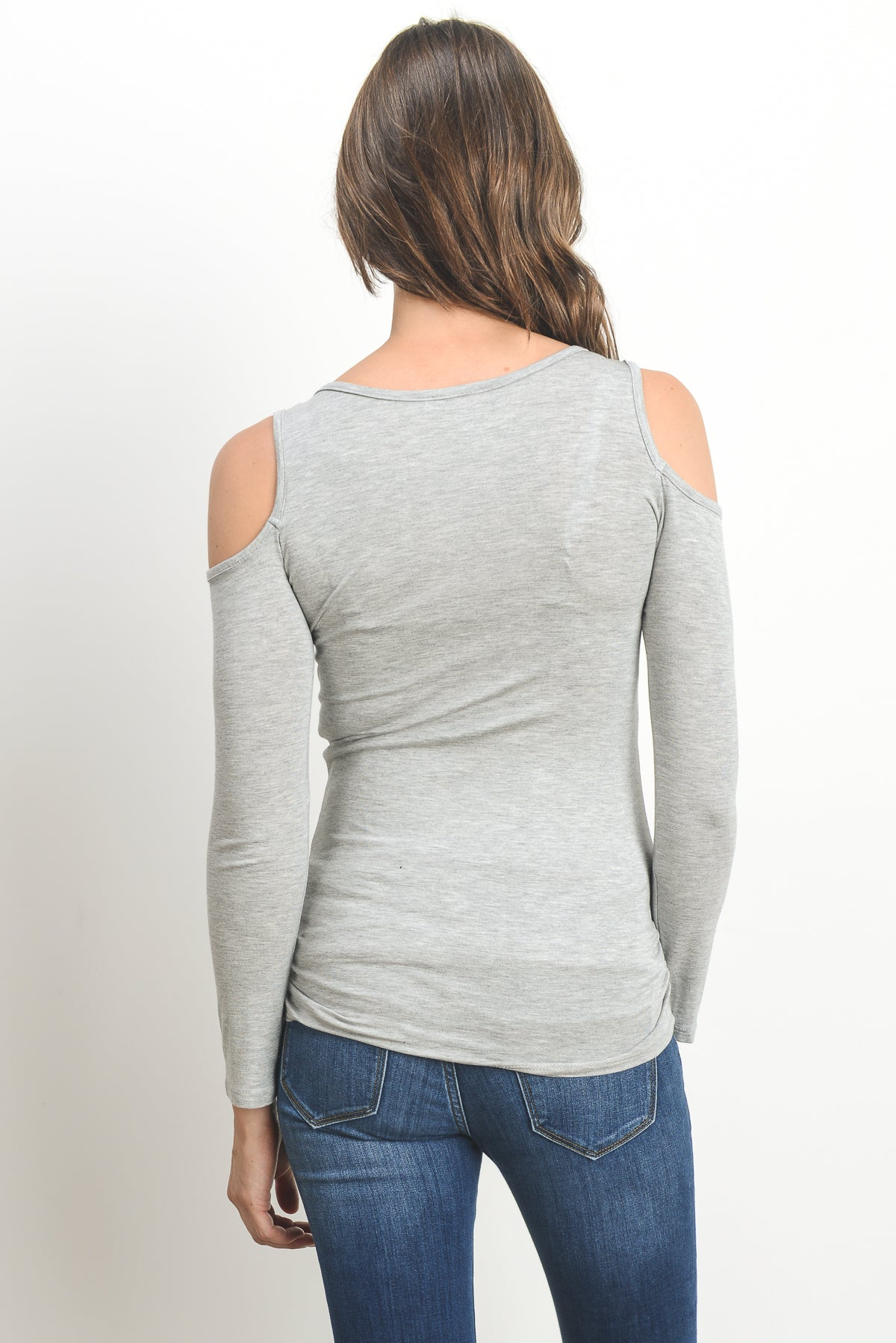 Solid Open Cold Shoulder Maternity/Nursing Top