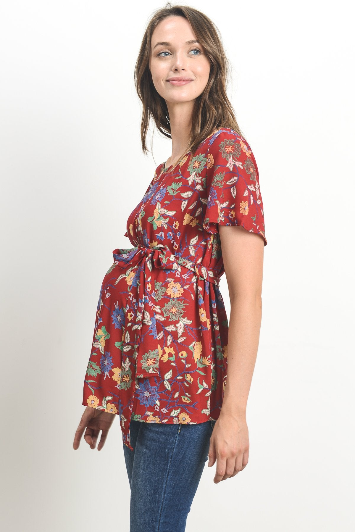 Jewel Neckline Side Tie Maternity Blouse
