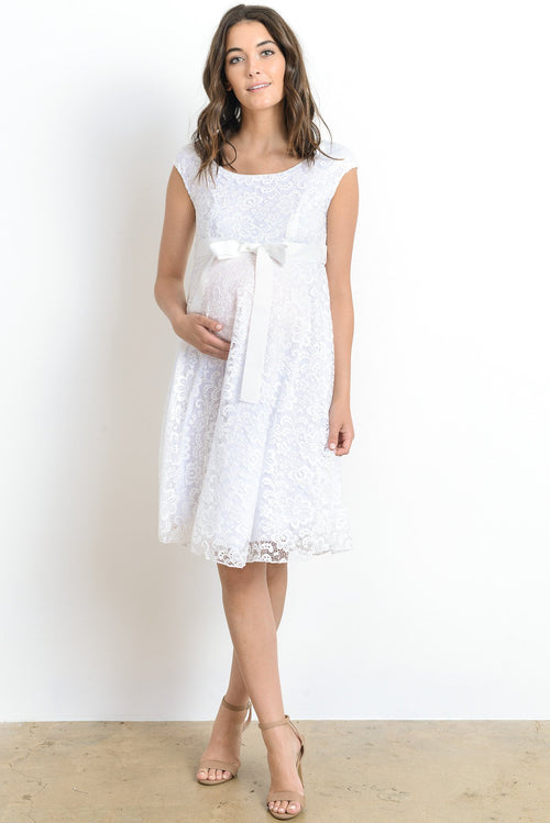 Cap Sleeve Lace with Ribbon Tie Flowy Maternity Dress
