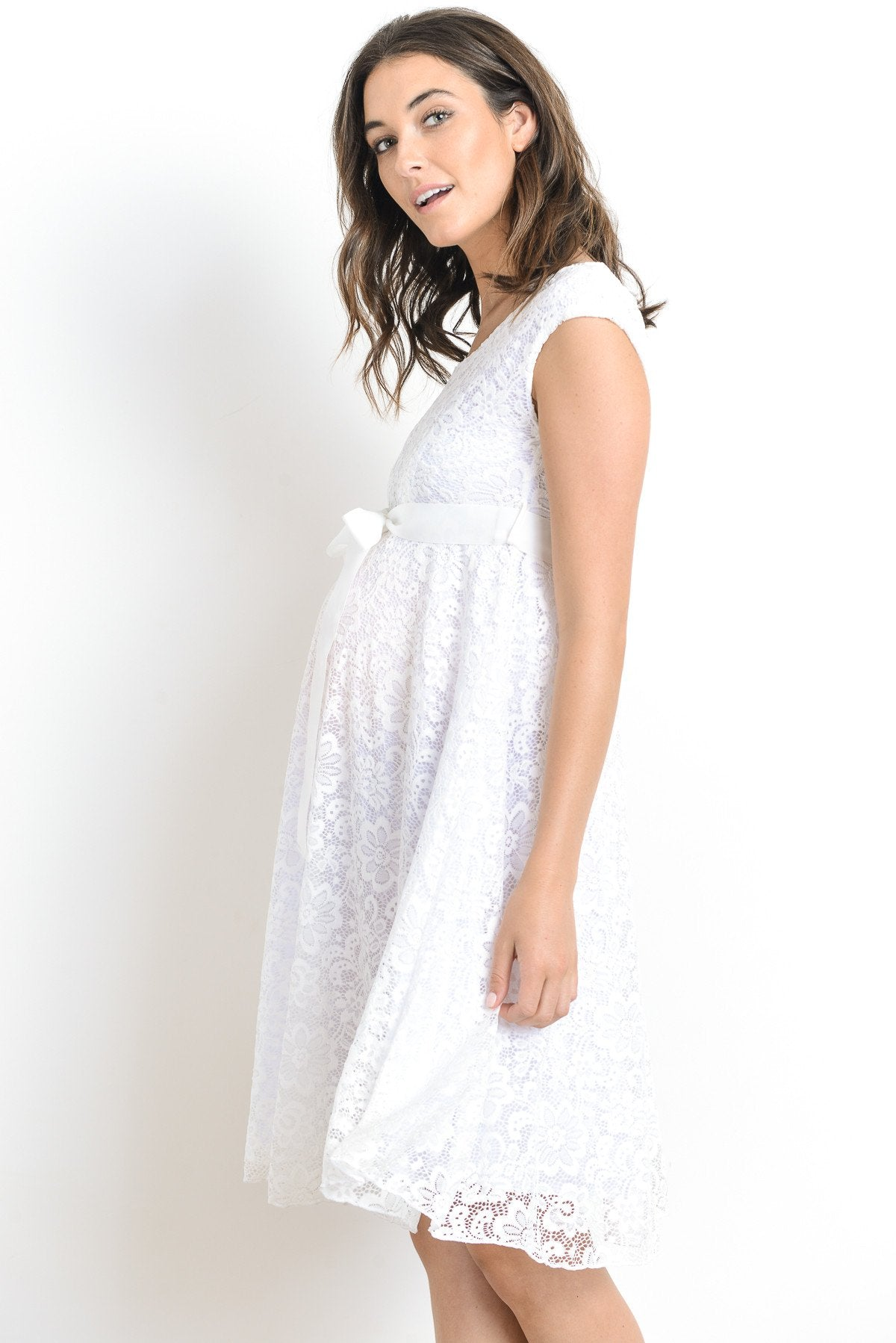 Libby Lace Cap Sleeve Maternity Dress