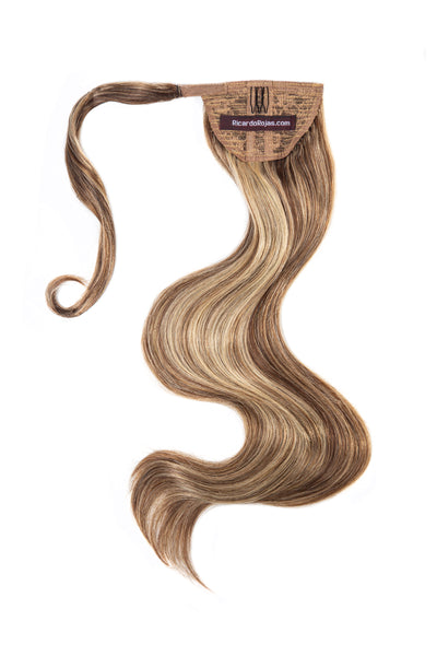 Clip-In Pony Tail Hair Extension #640 Chestnut Latte Highlight