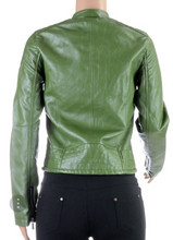 OLIVE LEATHER BIKER JACKET