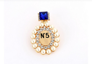 Chanel Inspired Perfume Bottle Brooch- Blue