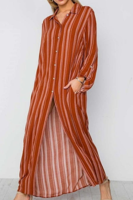 Cinnamon Spice Shirt Maxi Dress