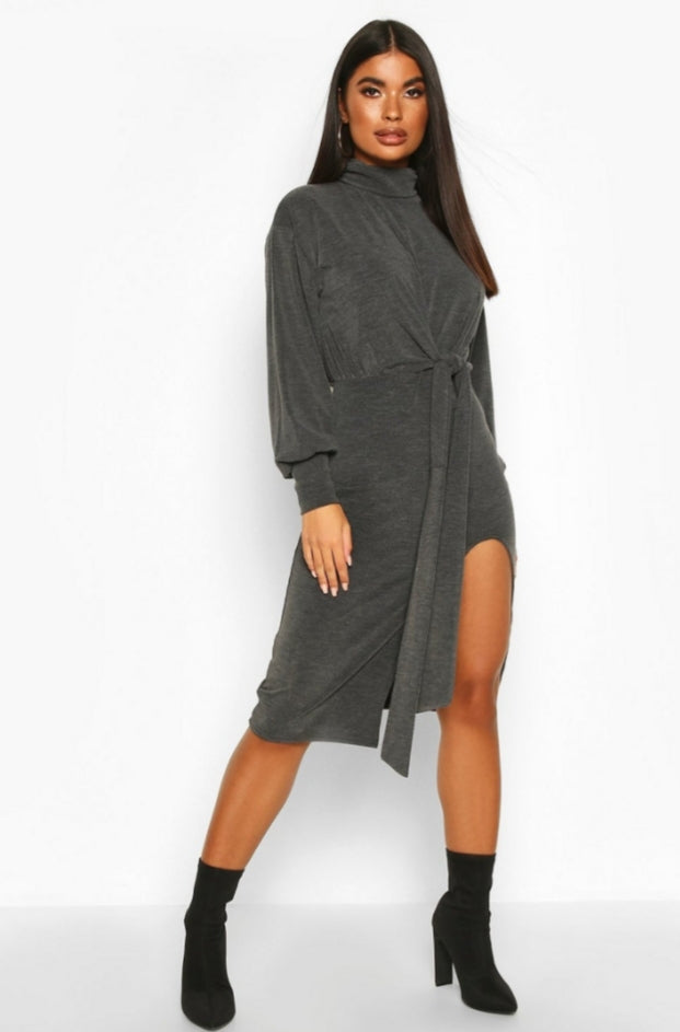 Turtle Neck Midi Dress-Petite