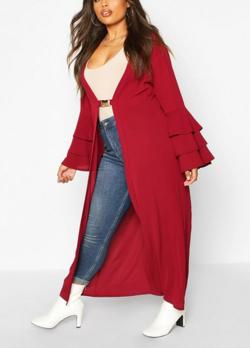 Jessica Long Cardigan-Plus Size Burgundy