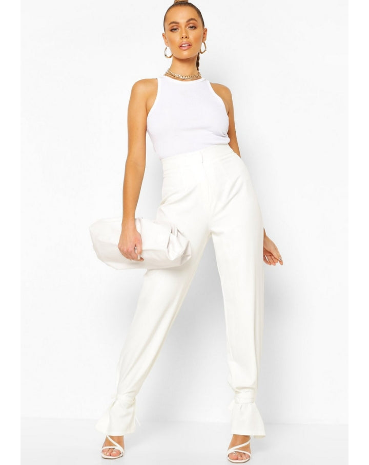 Ivory Tie Ankle Pants