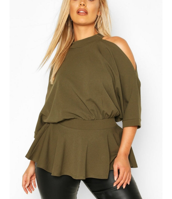 Cold Shoulder Blouse-Plus Size