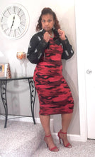 Red Camouflage Jersey Dress