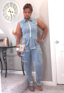 Issa Wrap Denim Jumpsuit