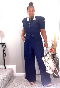 Puff Shoulder Denim Jumpsuit-Plus Size