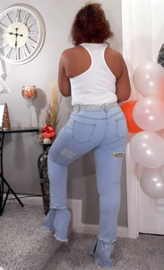Ripped Bell Bottom Jeans-Plus Size