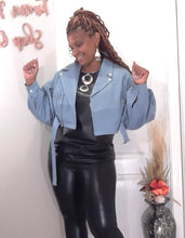 Baby Blue Crop Leather Jacket