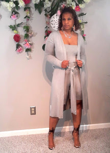 Tia Romper Set With Duster-Gray