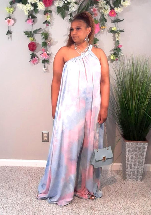 Above The Clouds One Shoulder Jumpsuit-Plus Sizes
