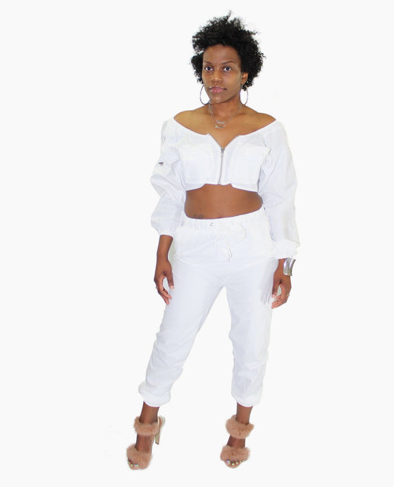 White Jogger Two Piece Set