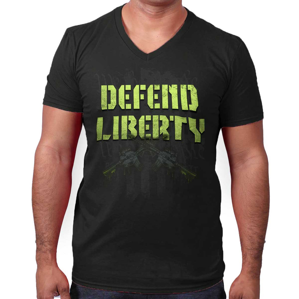 Black|Defend Liberty V-Neck T-Shirt|Tactical Tees