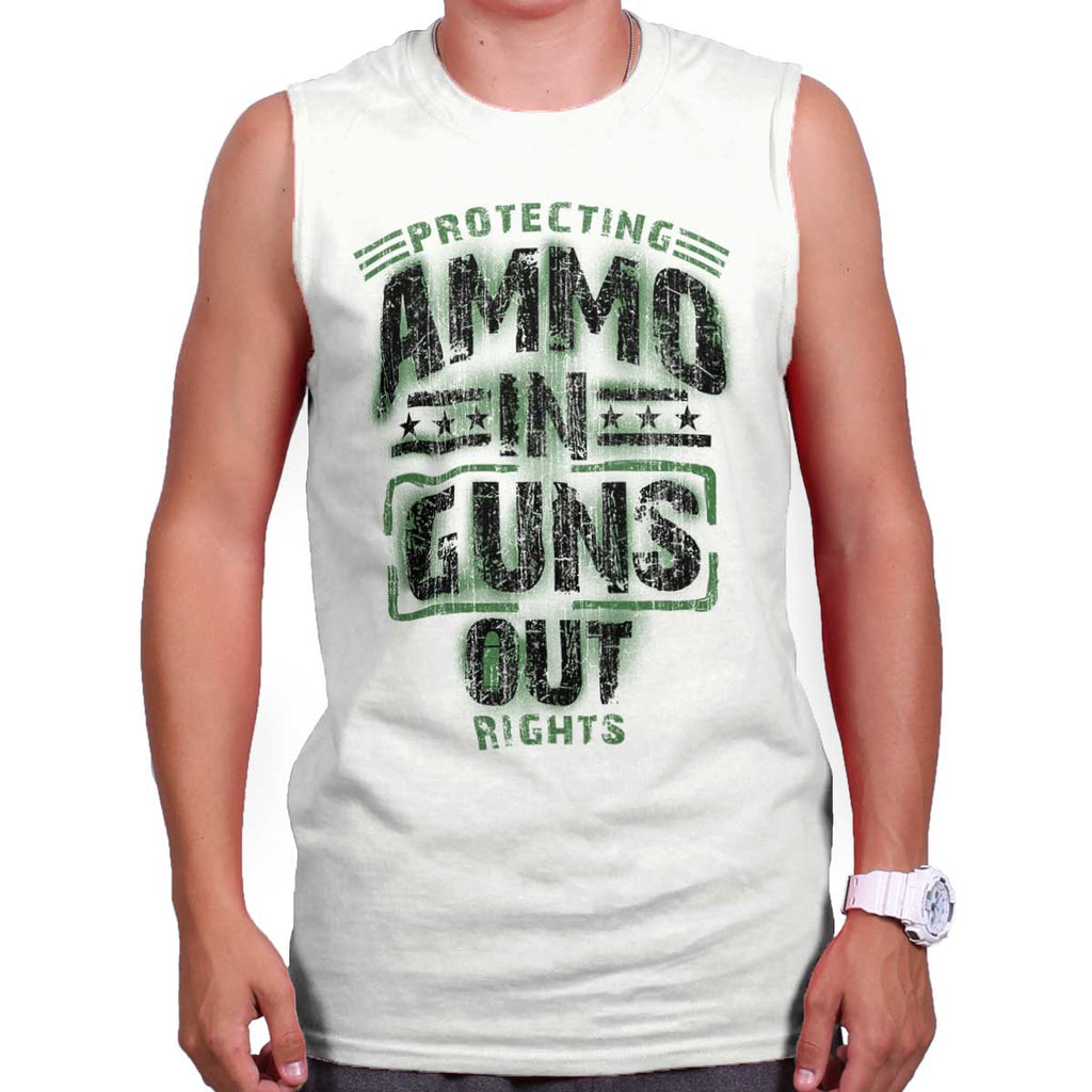 White|Ammo In Guns Out Protecting Rights Sleeveless T-Shirt|Tactical Tees