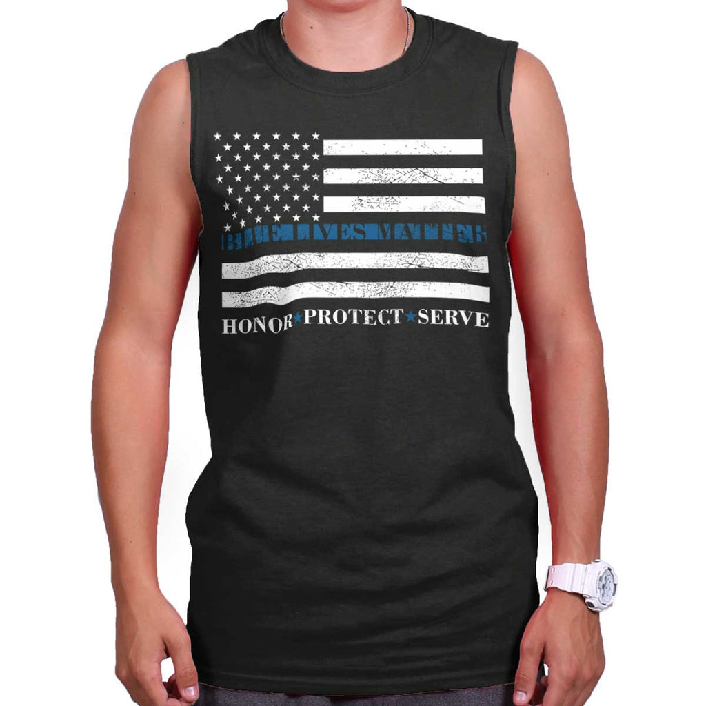 Black|Blue Lives Matter Honor Sleeveless T-Shirt|Tactical Tees