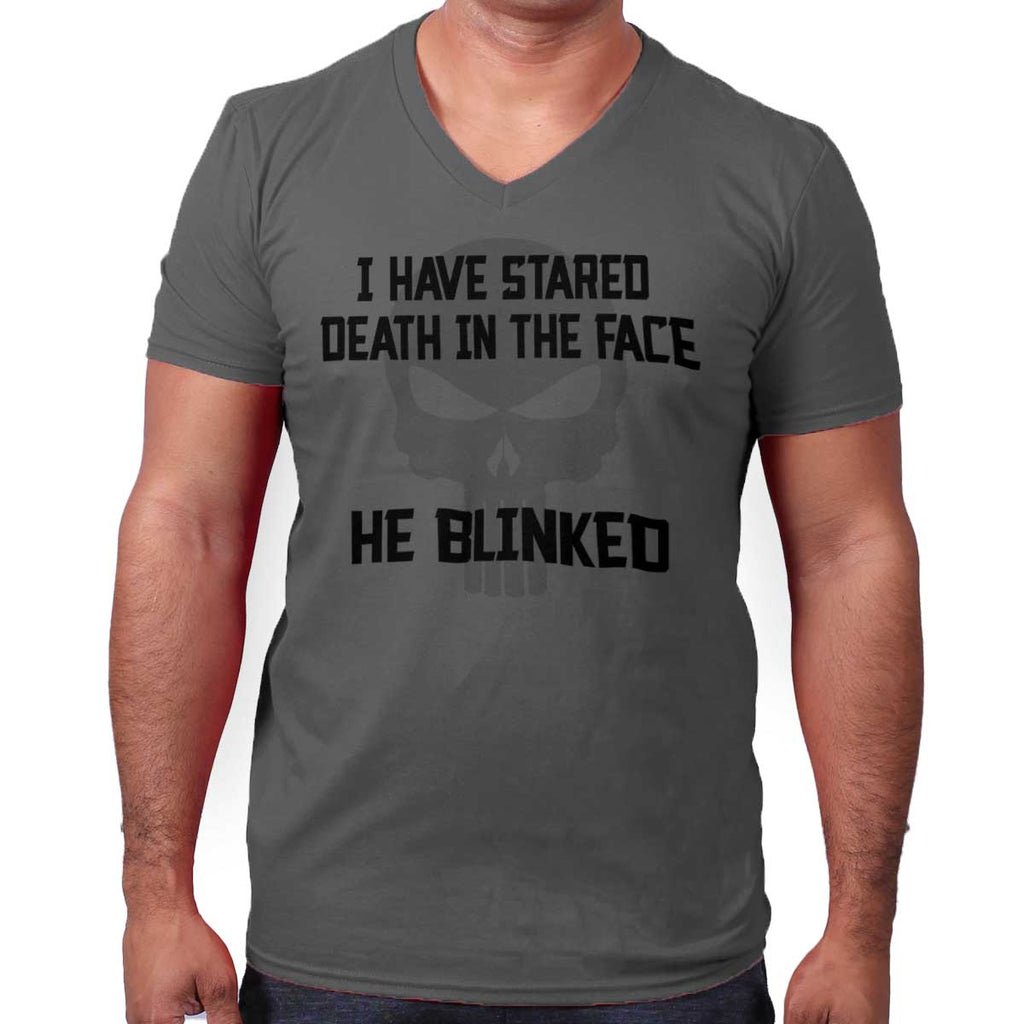 Charcoal|He Blinked V-Neck T-Shirt|Tactical Tees