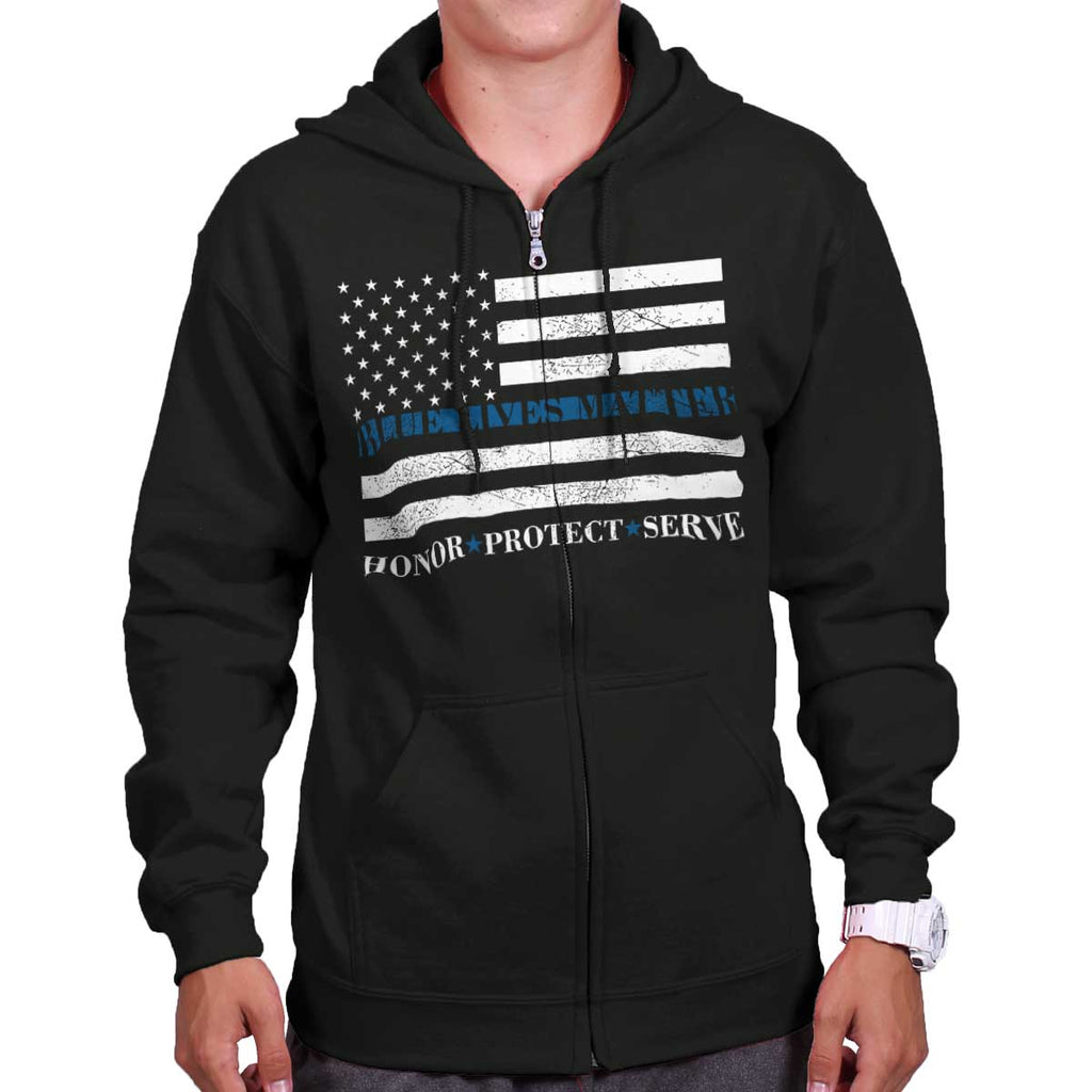 Black|Blue Lives Matter Honor Zip Hoodie|Tactical Tees