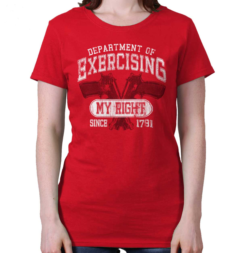 Red|DepartMalet of Exercising My Right Ladies T-Shirt|Tactical Tees