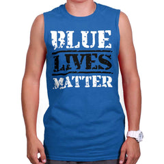Royal|Blue Lives Matter Bold Sleeveless T-Shirt|Tactical Tees