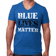 Royal|Blue Lives Matter Bold V-Neck T-Shirt|Tactical Tees