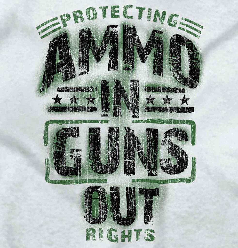 White2|Ammo In Guns Out Protecting Rights Junior Fit V-Neck T-Shirt|Tactical Tees