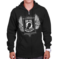 Black|POW MIA You Are Not Forgotten Zip Hoodie|Tactical Tees