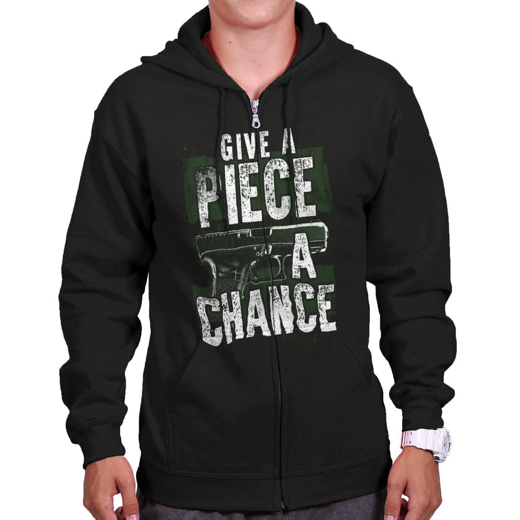 Black|Give Piece a Chance Zip Hoodie|Tactical Tees