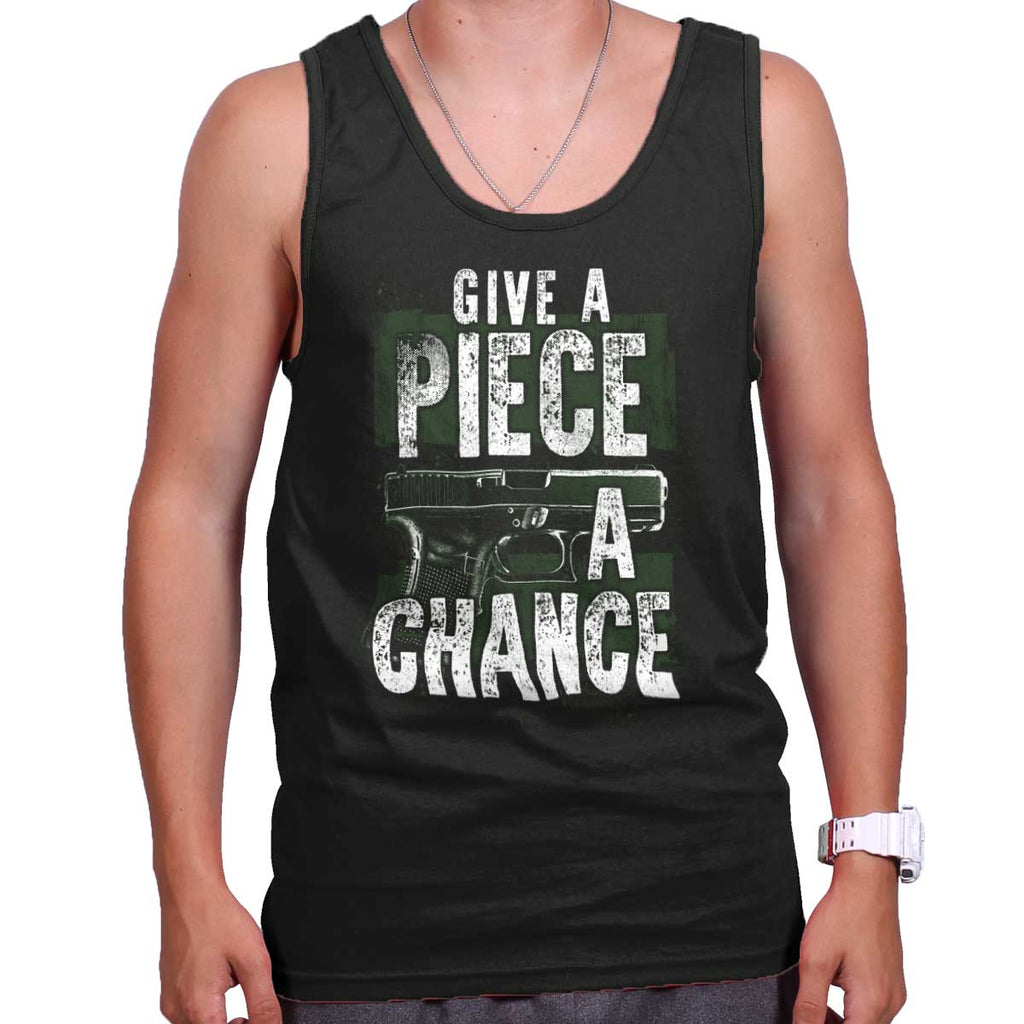 Black|Give Piece a Chance Tank Top|Tactical Tees
