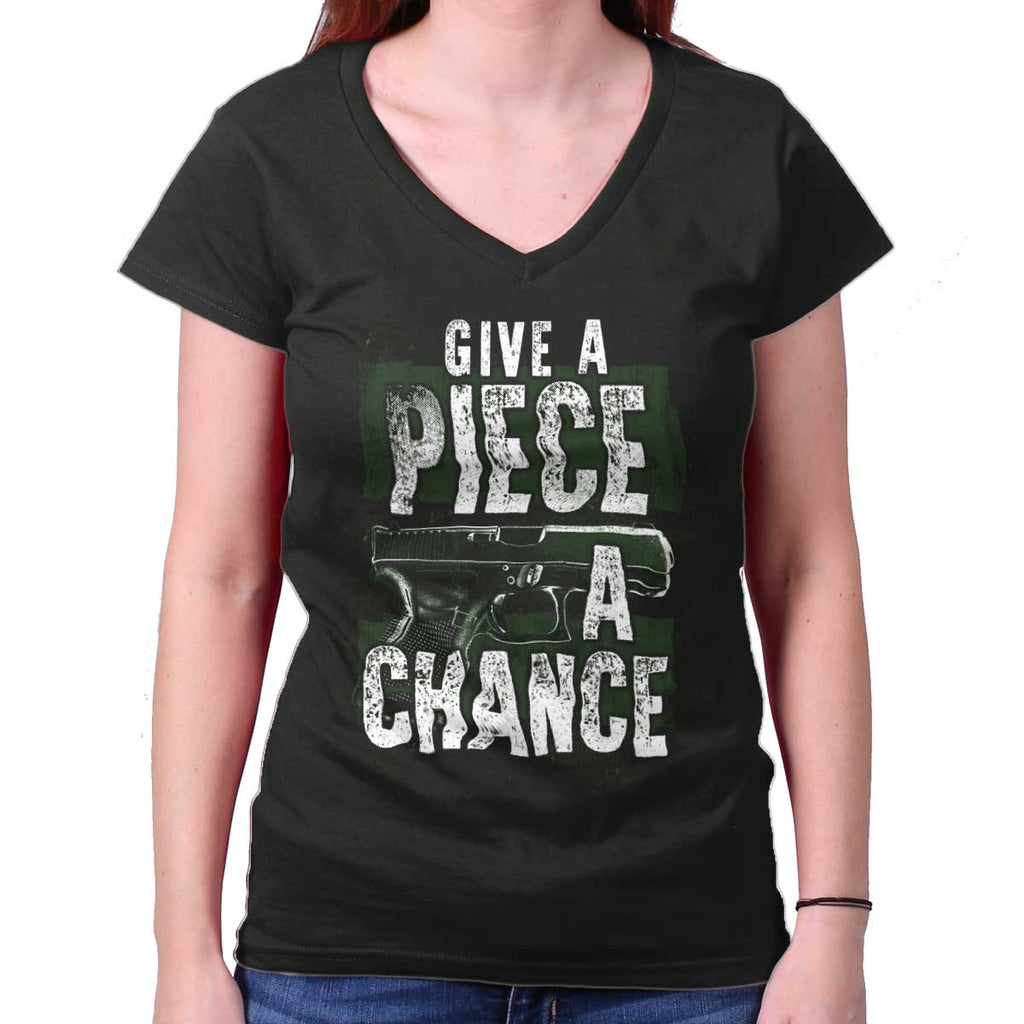 Black|Give Piece a Chance Junior Fit V-Neck T-Shirt|Tactical Tees