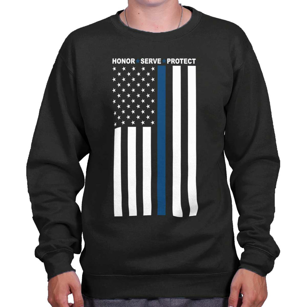 Black|Blue Lives Matter Vertical Crewneck Sweatshirt|Tactical Tees