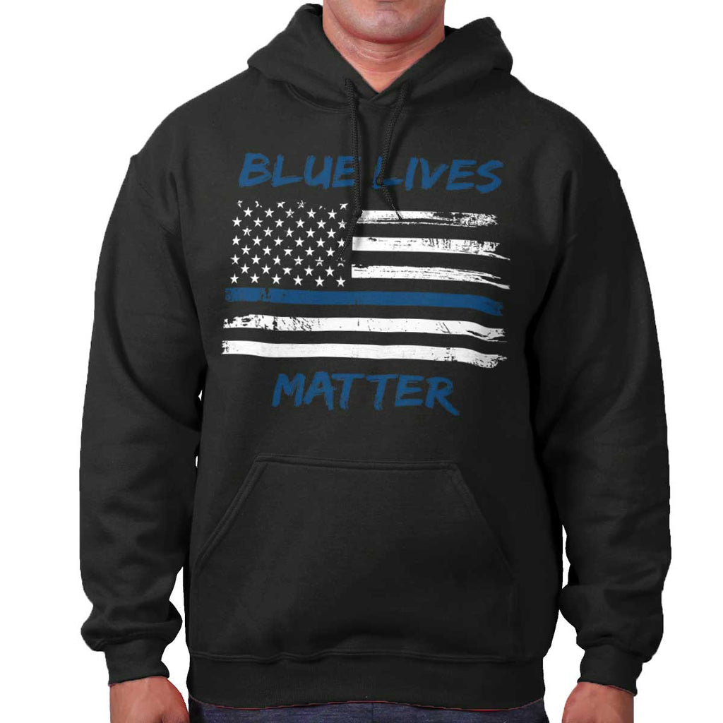 Black|Blue Lives Matter Horizontal Hoodie|Tactical Tees