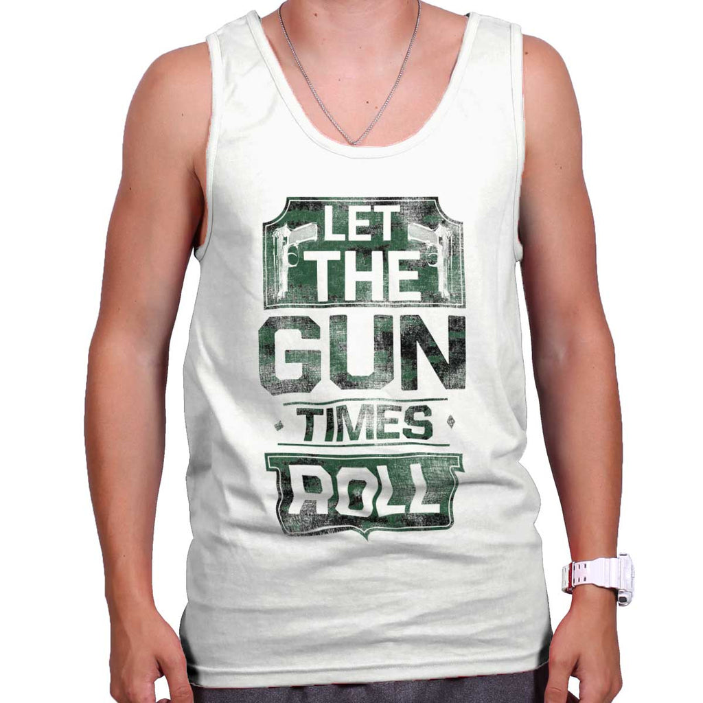 White|Let The Gun Times Roll Tank Top|Tactical Tees