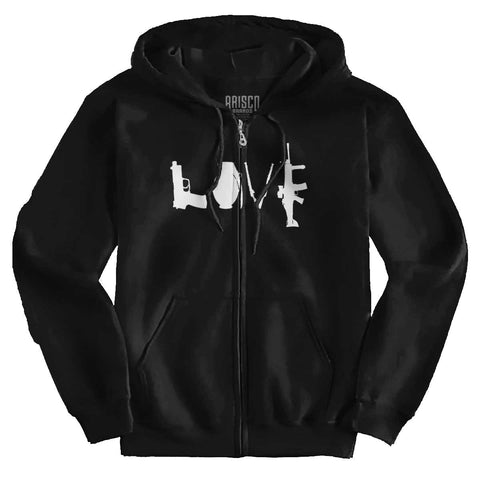 Black|Gun Love Zip Hoodie|Tactical Tees