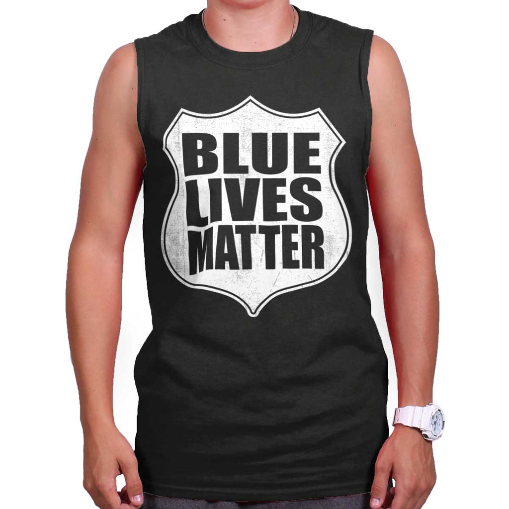 Black|Blue Lives Matter Shield Sleeveless T-Shirt|Tactical Tees