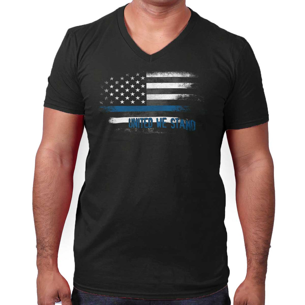 Black|Blue Lives Matter Fade V-Neck T-Shirt|Tactical Tees