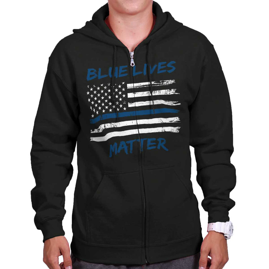 Black|Blue Lives Matter Horizontal Zip Hoodie|Tactical Tees