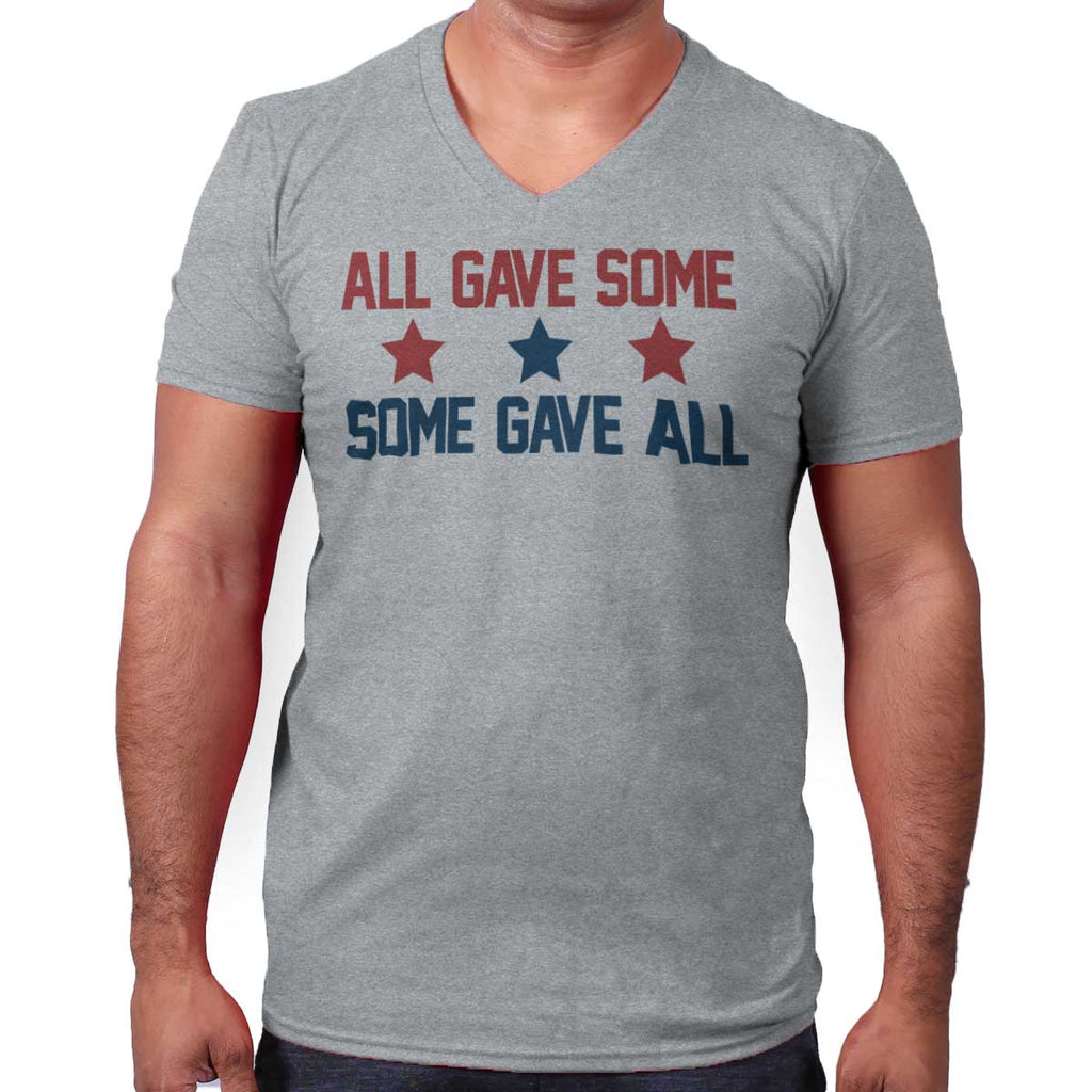 SportGrey|Some Gave All V-Neck T-Shirt|Tactical Tees