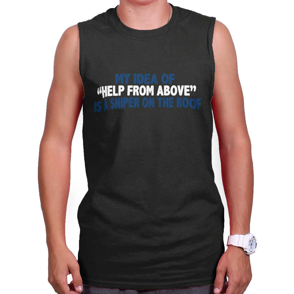 Black|Help From Above Sleeveless T-Shirt|Tactical Tees