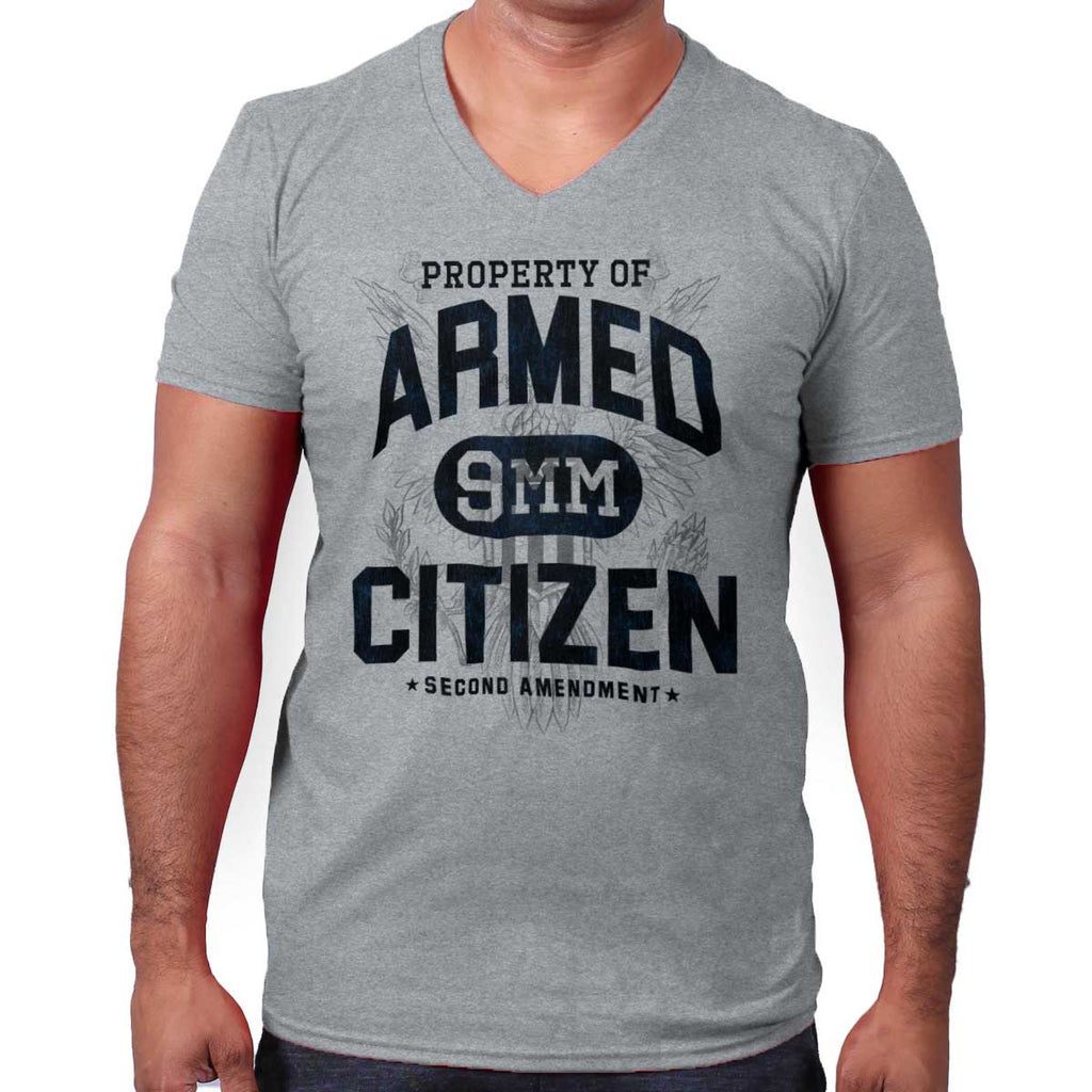 SportGrey|Armed Citizen V-Neck T-Shirt|Tactical Tees
