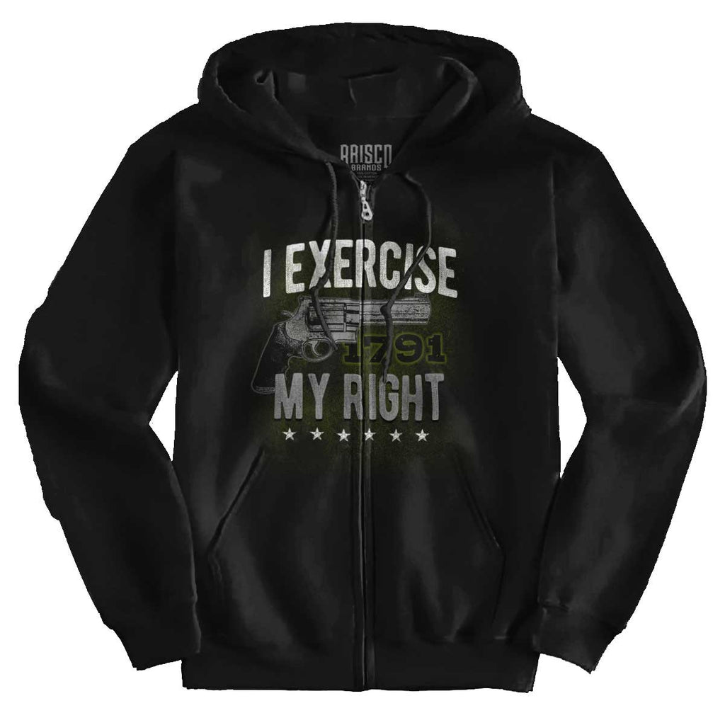 Black|I exercise My Right Zip Hoodie|Tactical Tees