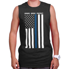 Black|Blue Lives Matter Vertical Sleeveless T-Shirt|Tactical Tees